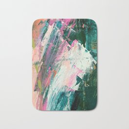 Meditate [2]: a vibrant, colorful abstract piece in bright green, teal, pink, orange, and white Bath Mat