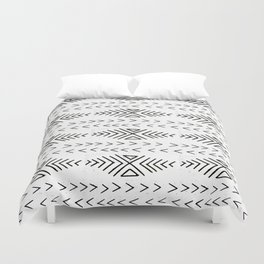 Mudcloth black and white linocut pattern geometric minimal modern trendy design Duvet Cover