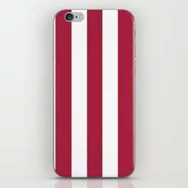 Deep carmine red - solid color - white vertical lines pattern iPhone Skin