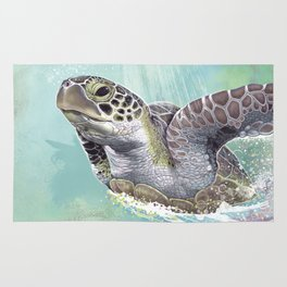 Green Sea Turtle Rides The Waves Rug