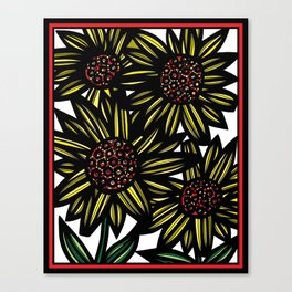 Blellum Flowers Yellow Red Black Canvas Print