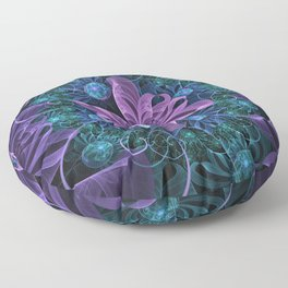 Bejeweled Butterfly Lily of Ultra-Violet Turquoise Floor Pillow