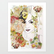 Lady of the Flowers  Art Print