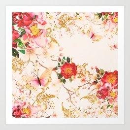Watercolor Bloom Floral Buttefly Blush Glitter Art Print