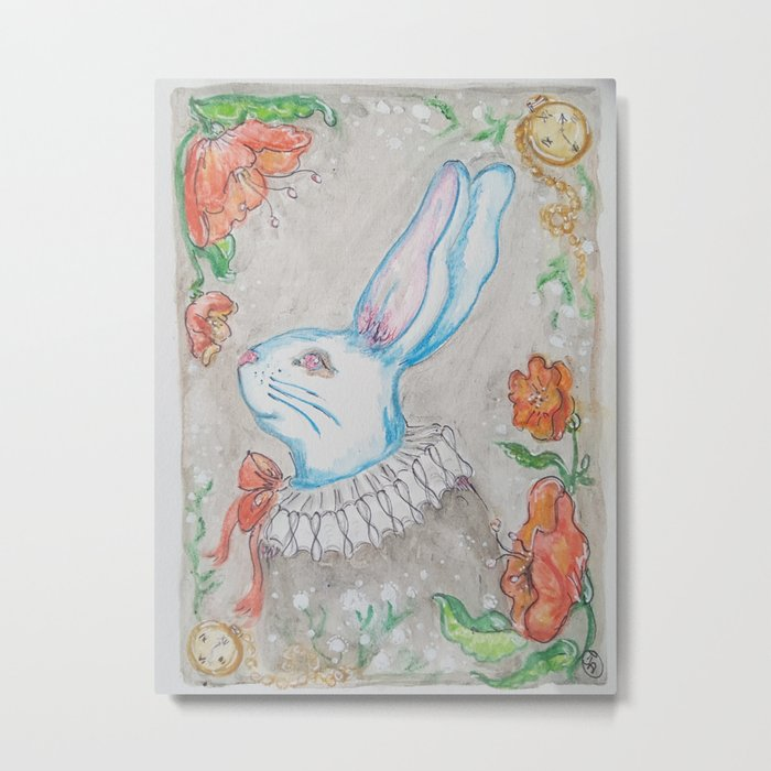 """Alice in wonderland white rabbit floral """"Take time to smell the flowers"""" watercolor Metal Print"""
