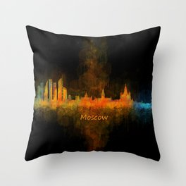 Moscow City Skyline art HQ v4 Throw Pillow