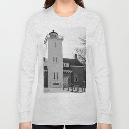 40 Mile Point Lighthouse BnW Long Sleeve T-shirt