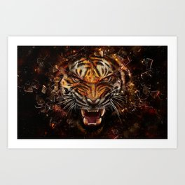 Angry Tiger Breaking Glass Yelow Art Print