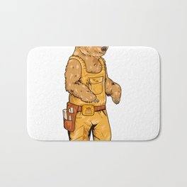 Construction Worker Grizzly Bear Bath Mat