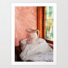 Good morning- vintage pitcher and wash bowl Art Print