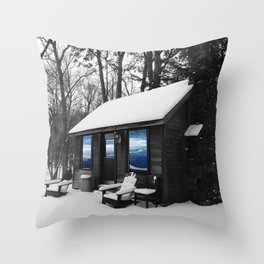 Snowy Cabin In The Woods Throw Pillow