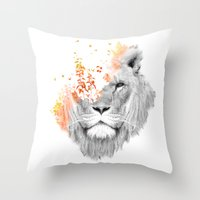 king Throw Pillows featuring If I roar (The King Lion) by Picomodi