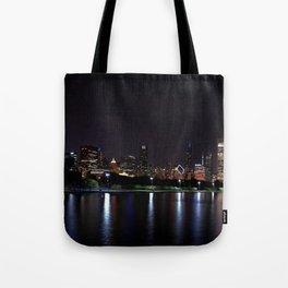 Chicago night skyline with fireworks, Usa. Tote Bag