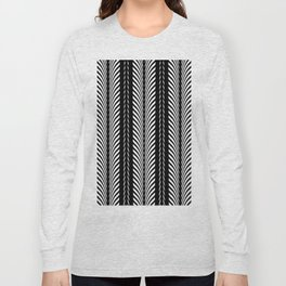 Geometric Black and White Herringbone Tribal Pattern Long Sleeve T-shirt