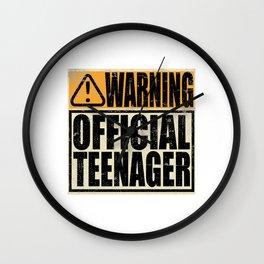 "A Birthday Tee ""Warning! Official Teenager"" T-shirt Design Youth Teens Happy Natal Day Sign Teen Wall Clock"