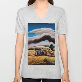 American Classical Masterpiece Threshing Wheat by Thomas Hart Benton Unisex V-Neck