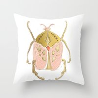 beetle Throw Pillows featuring Beetle by Very Sarie