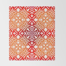 Tribal Tiles II (Red, Orange, Brown) Geometric Throw Blanket