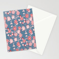 Red-Pink Flower Pattern Stationery Cards