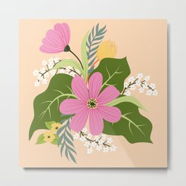 Blooming Colorful Composition Peach Metal Print