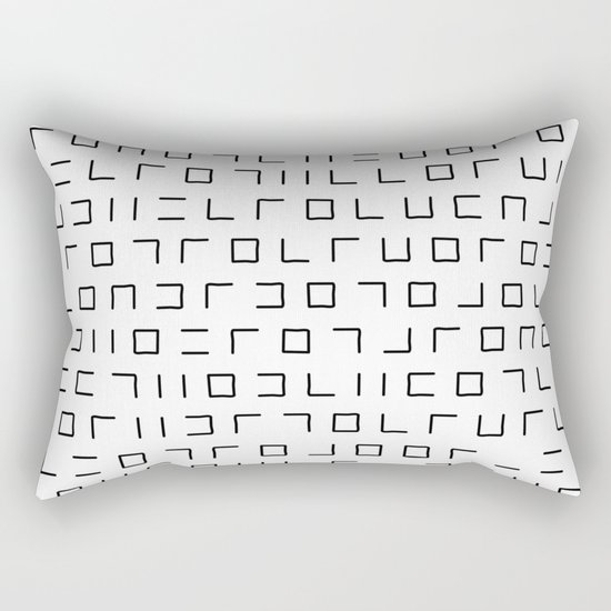 Code Breaker - Abstract, black and white, minimalist artwork Rectangular Pillow