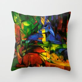 Deers in Wood by Franz Marc Throw Pillow