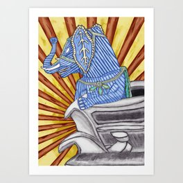 Super Senior Elephante Art Print