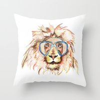 scuba Throw Pillows featuring Scuba Lion by Kristen Williams