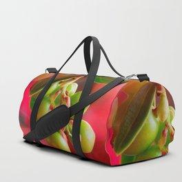 Green Berries Red Background #society6 #decor #buyart Duffle Bag