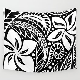 Circular Polynesian White Floral Tattoo Wall Tapestry
