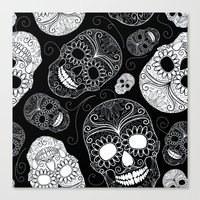 sugar skulls Canvas Prints featuring Sugar Skulls by Zen and Chic