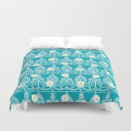 Gypsy Lace in Turquoise Duvet Cover