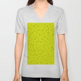 Digital Geometric Pattern Art Yellow Unisex V-Neck