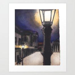 Winter Street Lamps Art Print