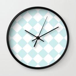 Large Diamonds - White and Light Cyan Wall Clock