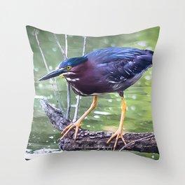 Green Heron Hunting Throw Pillow