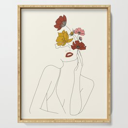 Colorful Thoughts Minimal Line Art Woman with Flowers Serving Tray