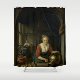 """Gerard Dou """"Maid at the Window"""" Shower Curtain"""