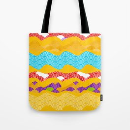 Summer bright pattern  scales simple Nature background with Chinese wave circle pattern Tote Bag