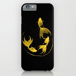 Follow the Leader - Goldfish Sumi-e Gold Version iPhone Case