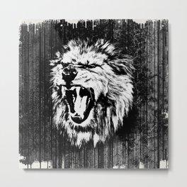 Black and White  Roaring Lion Digital Art Metal Print