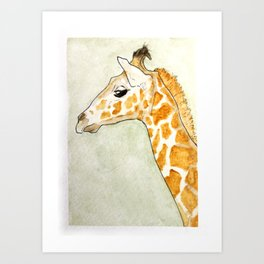 Yellow Ochre Giraffe Art Print