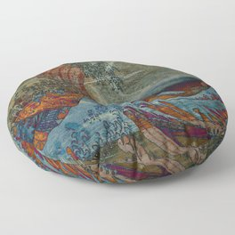 Great Wave On Wood Floor Pillow