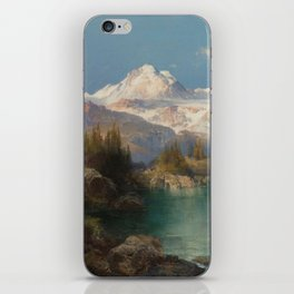 Snow-capped Rocky Mountains landscape painting by Thomas Moran iPhone Skin