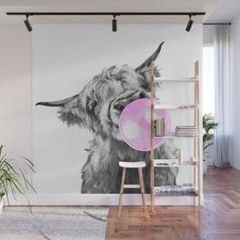 Bubble Gum Highland Cow Black and White Wall Mural