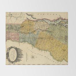 Vintage Map of Vermont (1814) Throw Blanket