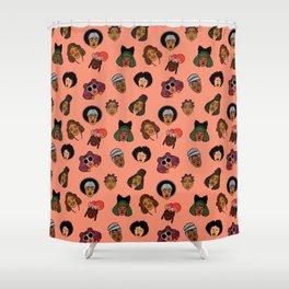 Black Hair Magic (Coral) Shower Curtain