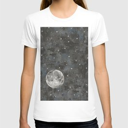 Watercolor Space Moon Robayre T-shirt