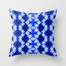 indigo shibori print Throw Pillow