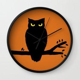Spooky Halloween Owl Wall Clock